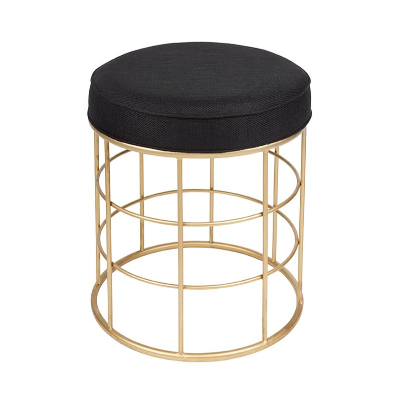 Ibiza Fabric Seat Metal Stool, Black/Gold