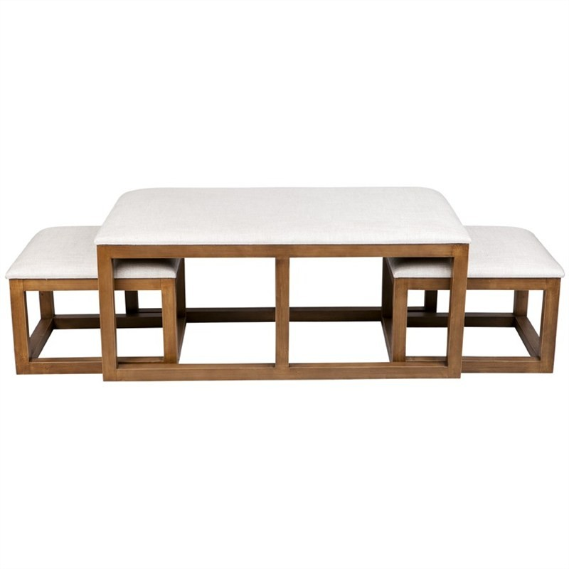 Trio 3 Piece Nested Linen Upholstered Timber Ottoman Set