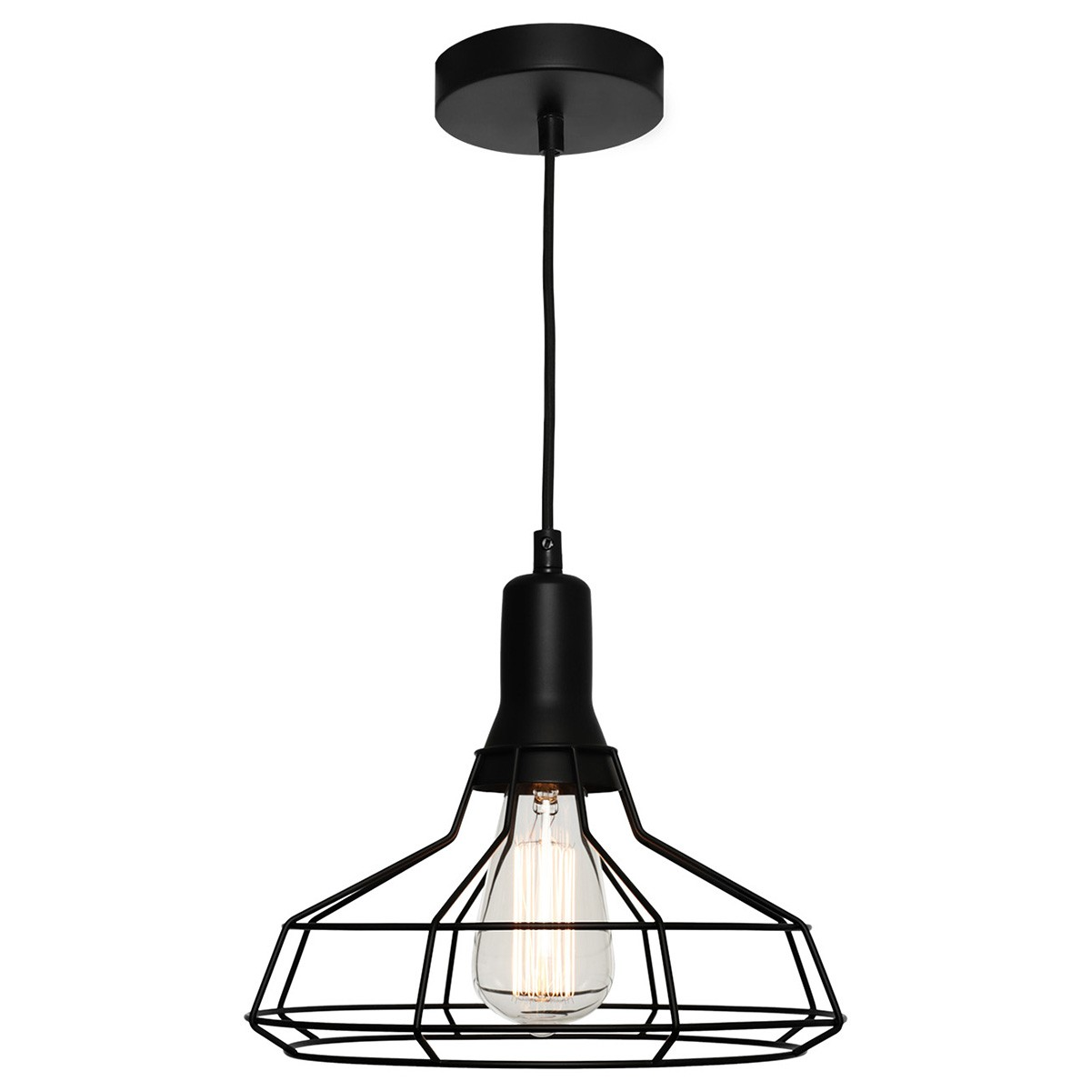 Cage Metal Wire Pendant Light, Medium