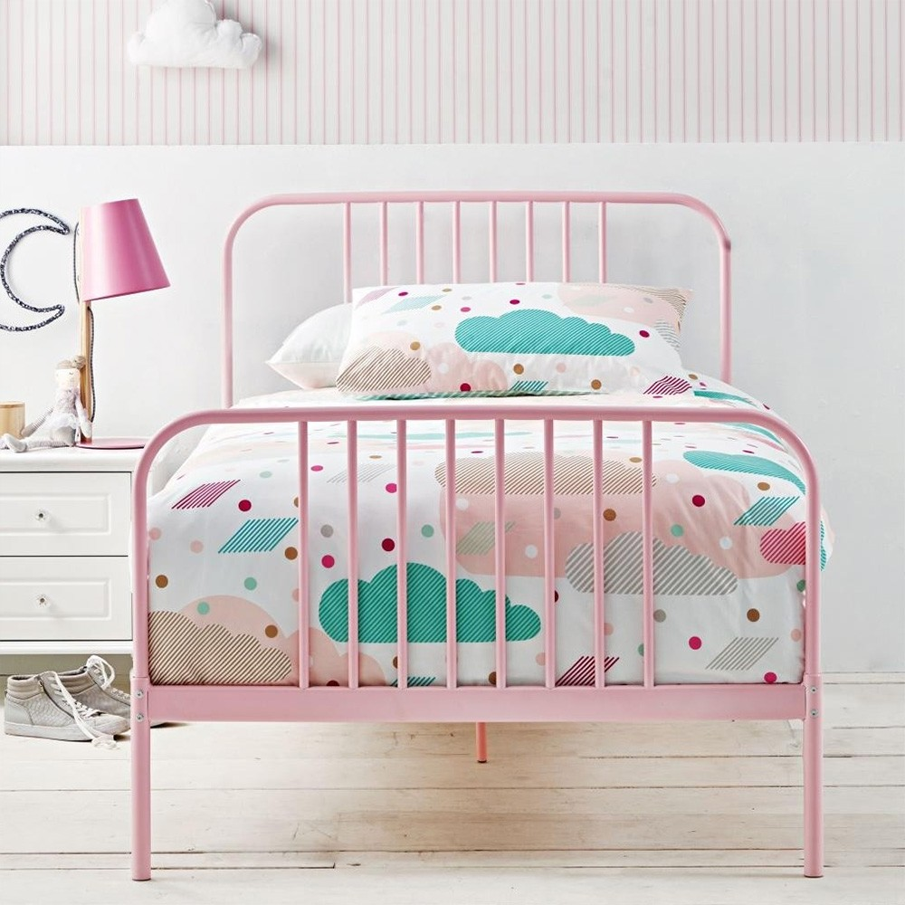 Calais Metal Bed, King Single, Pink