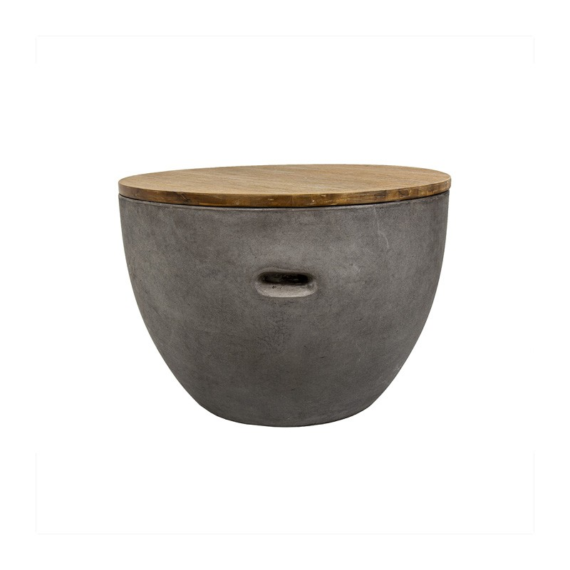 Sabah Timber Topped Concrete Round Side Table