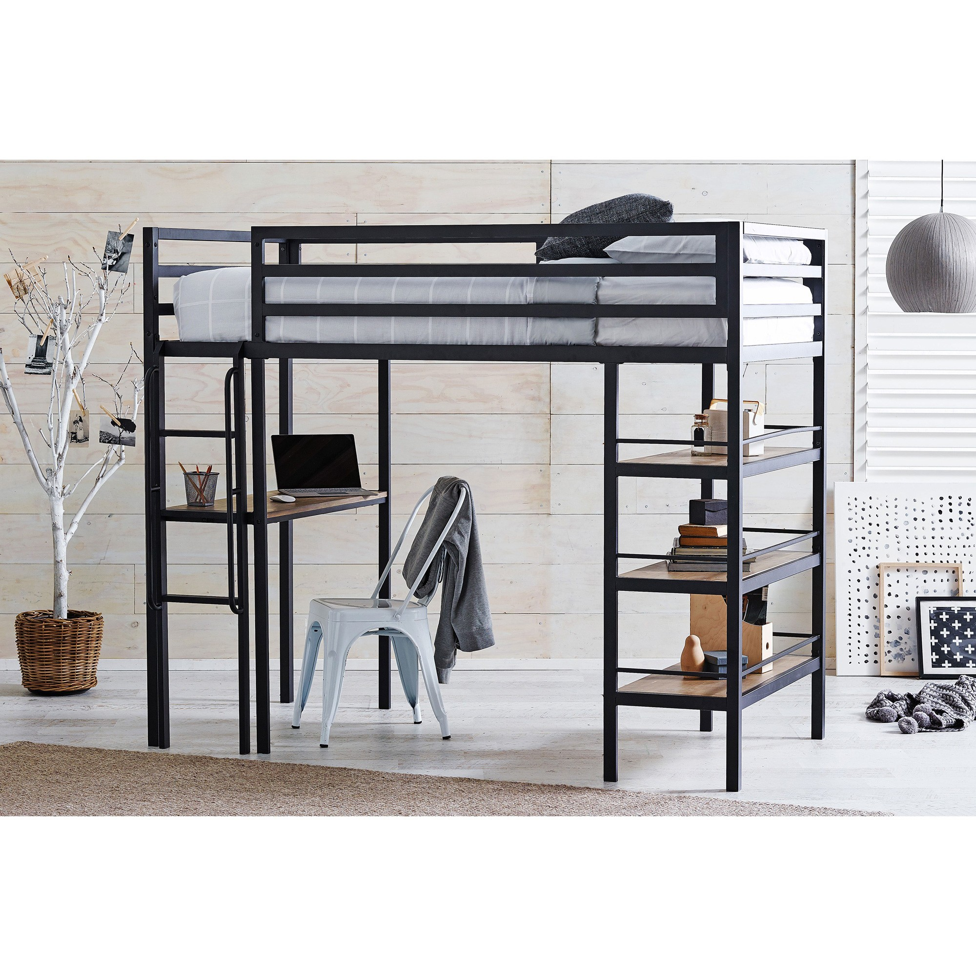 Castle Metal Loft Bed, King Single, Black