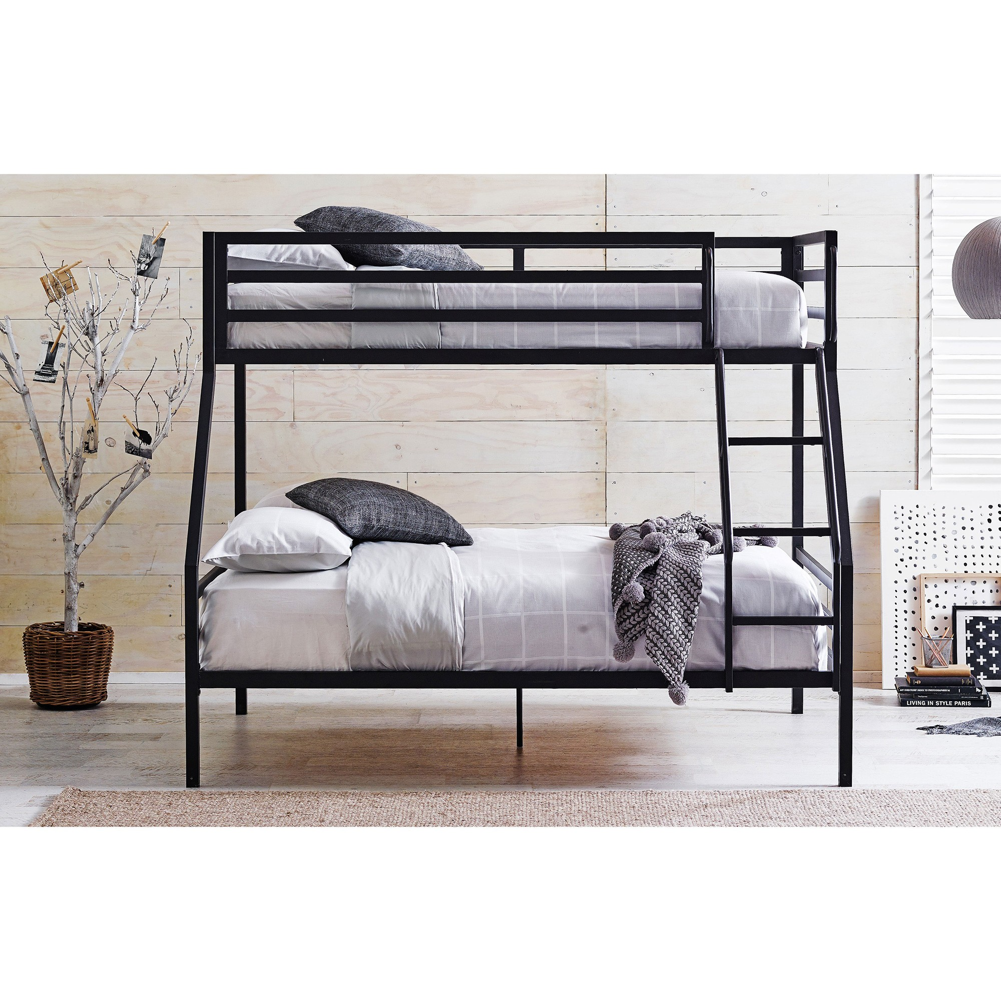 Castle Metal Bunk Bed, Trio, Black
