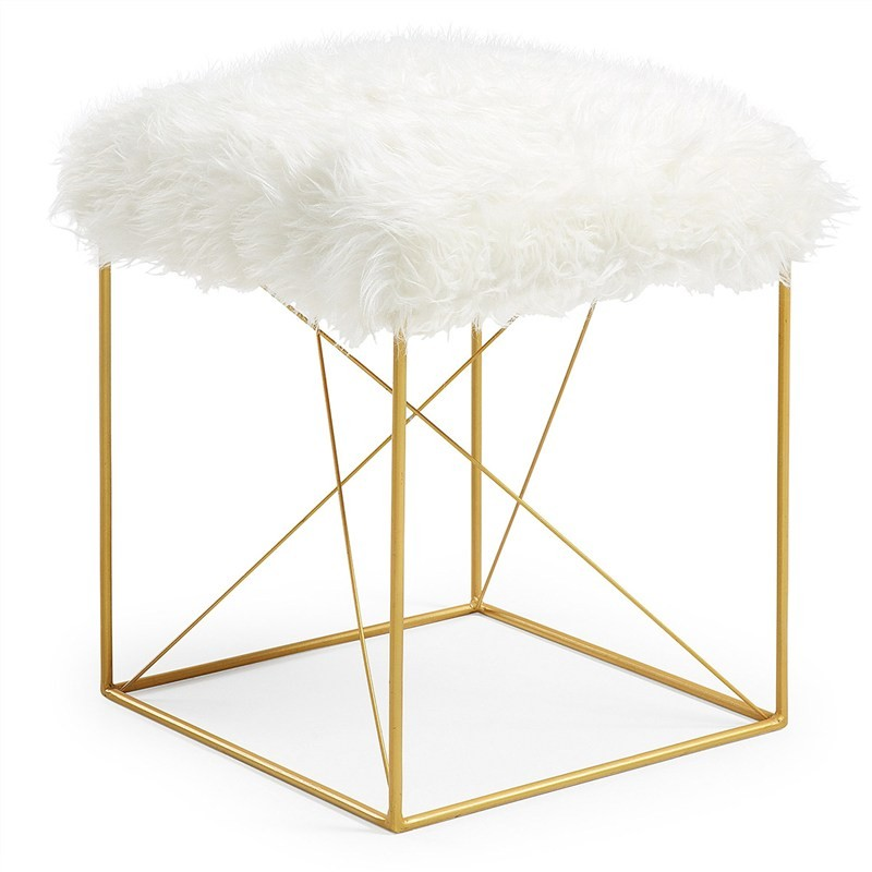 Fox Synthetic Fur & Metal Stool