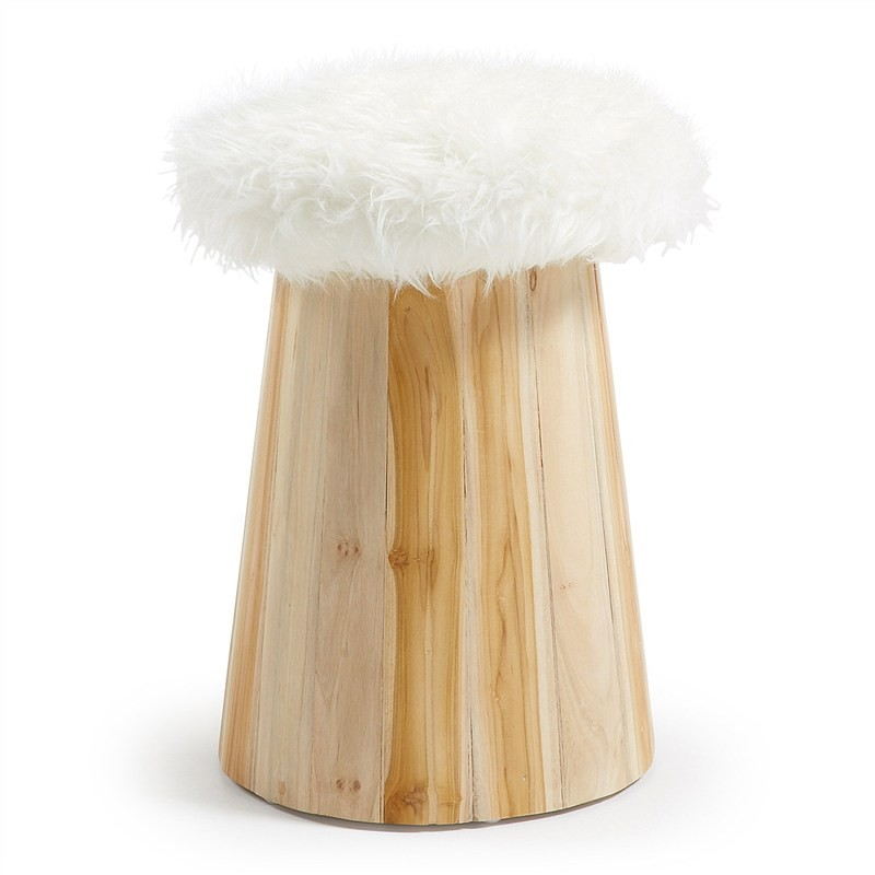 Calca Synthetic Fur & Timber Stool