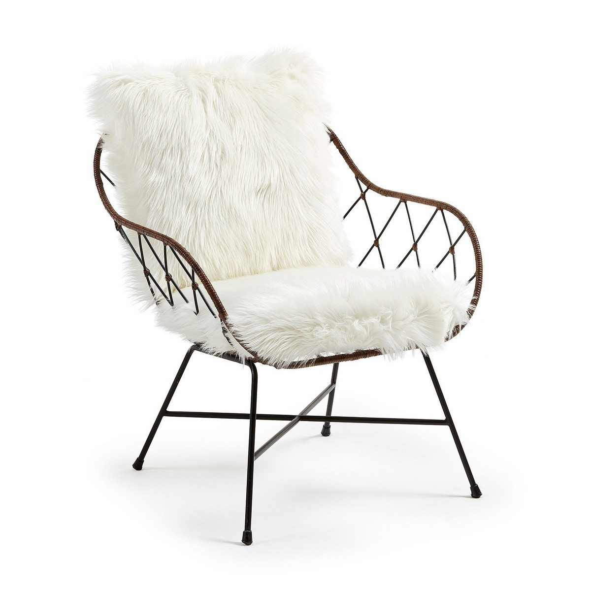 Loxton Steel Lounge Armchair with Faux Fur Cushions