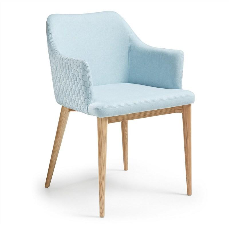 Danya Fabric Dining Armchair, Light Blue