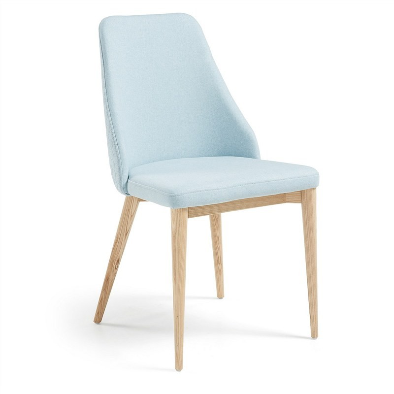 Roxy Fabric Dining Chair, Light Blue / Natural