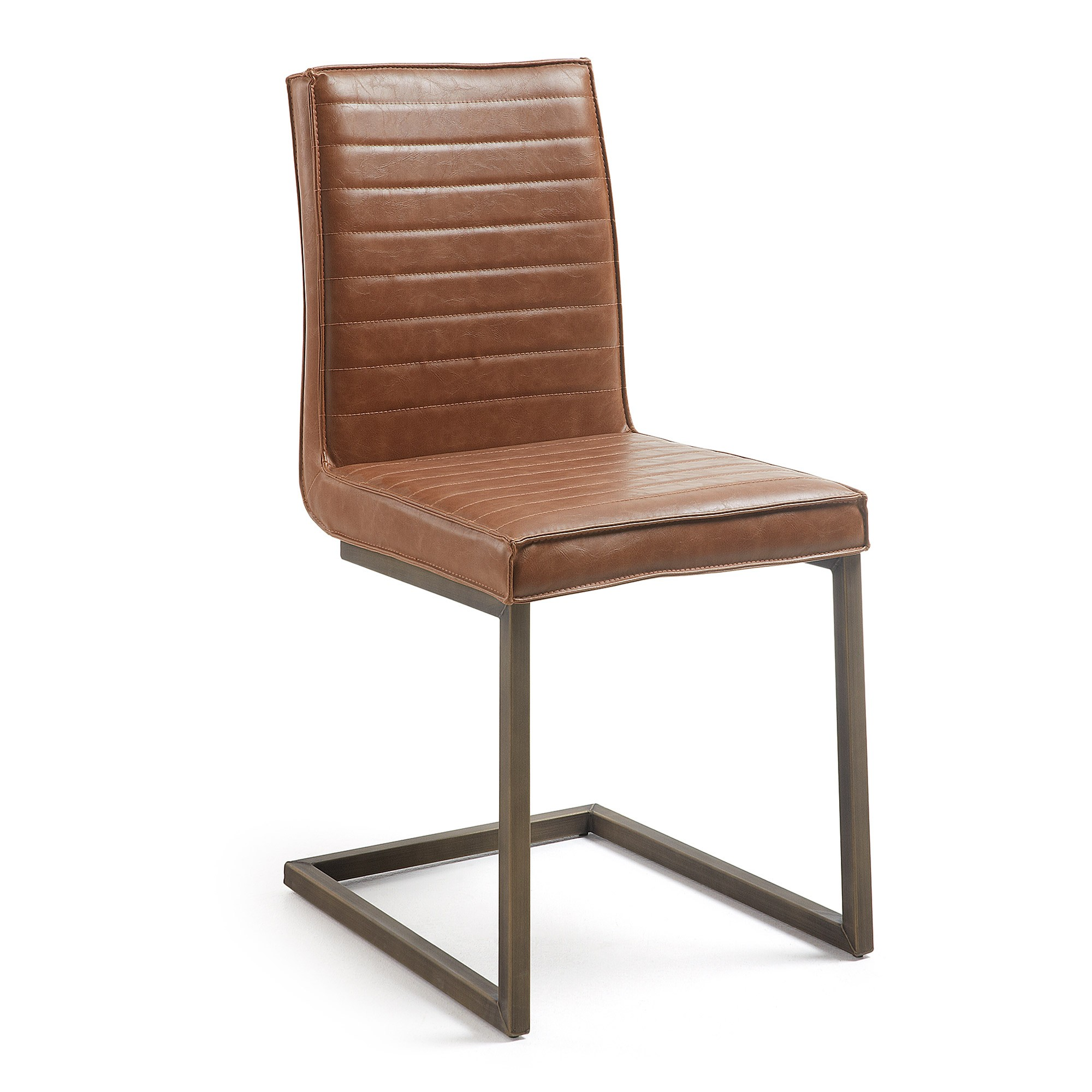 Tayten Faux Leather & Steel Dining Chair, Tan