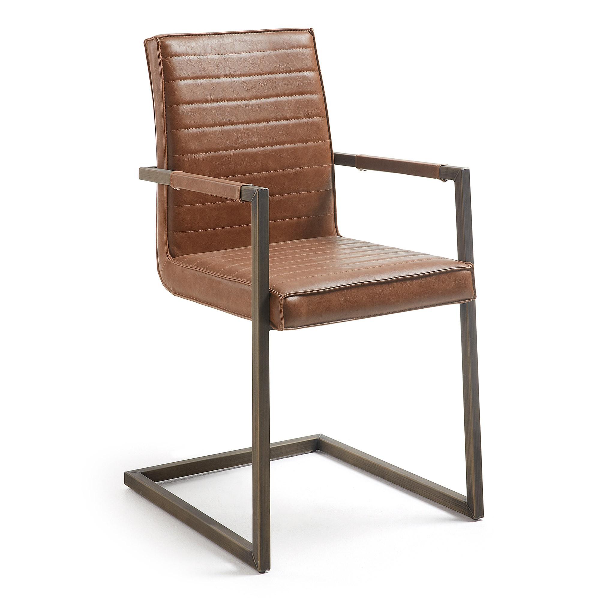 Tayten Faux Leather & Steel Dining Armchair, Tan
