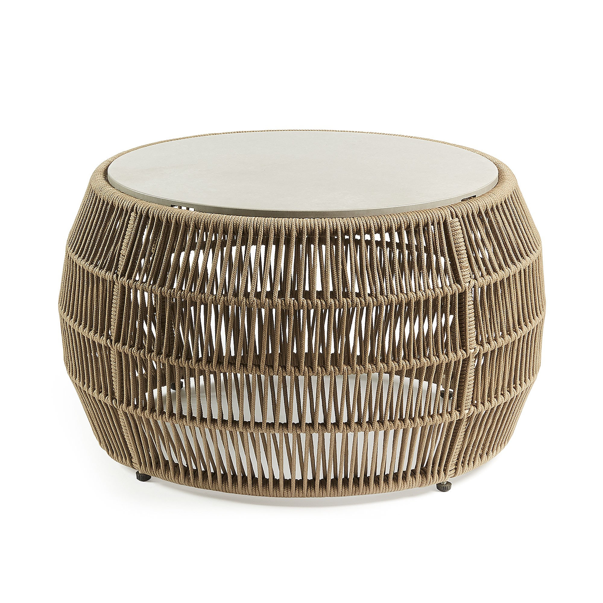 Perkin Rope Indoor & Outdoor Round Coffee Table with Polycement Top, Khaki