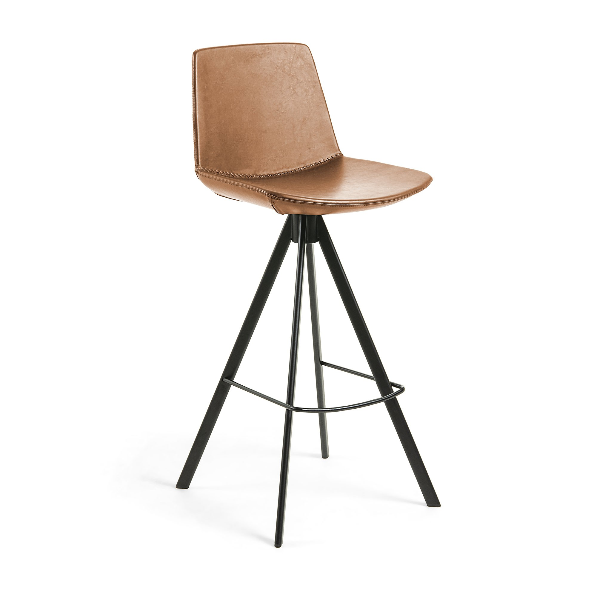 Eurobin PU Leather & Steel Counter Stool, Tan