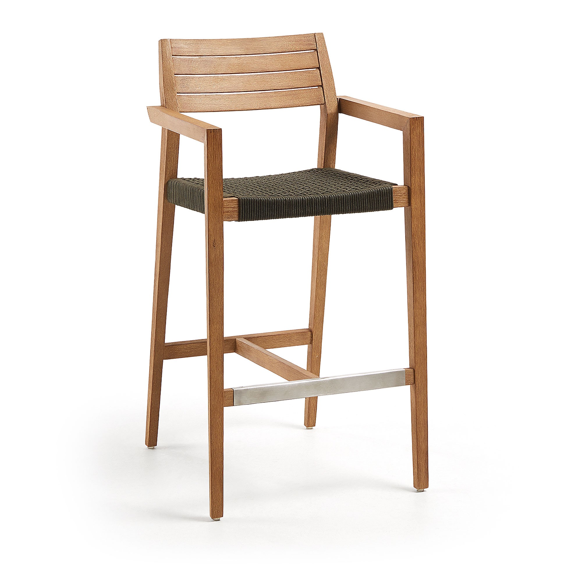 Winslow Eucalyptus Timber Indoor / Outdoor Bar Stool with Rope Seat, Natural / Charcoal