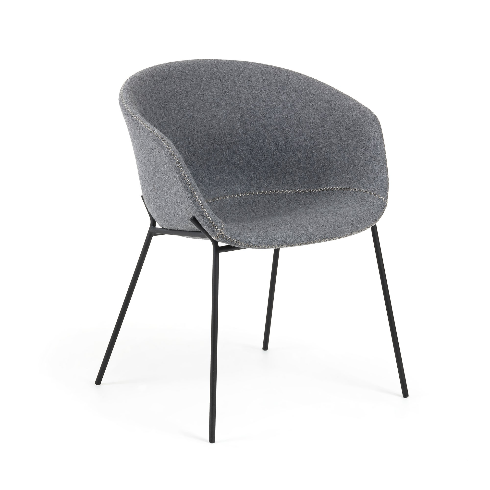 Christopher Wool Fabric & Steel Dining Armchair, Grey