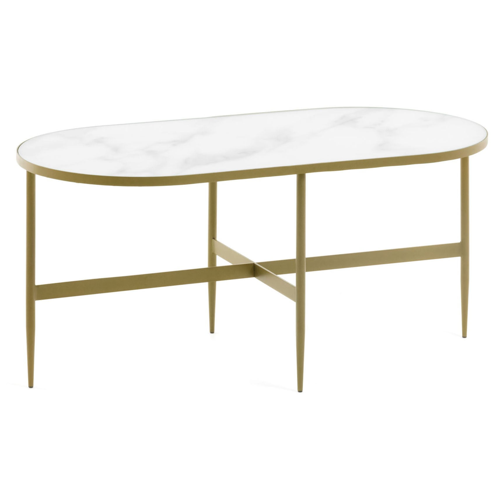 Cara Glass Top Metal Oval Coffee Table, 100cm