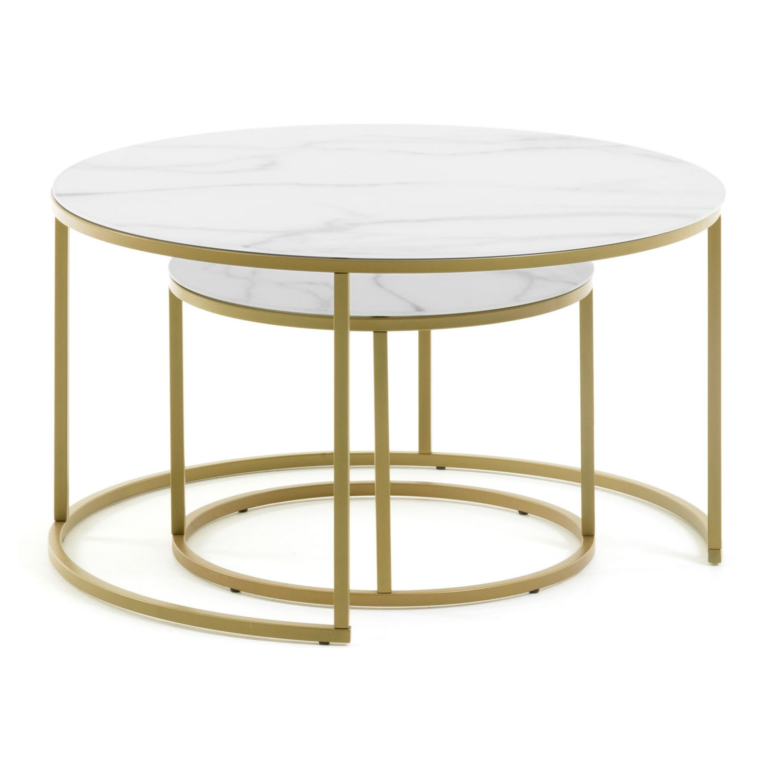 Salmond 2 Piece Glass Top Metal Round Nesting Coffee Table Set
