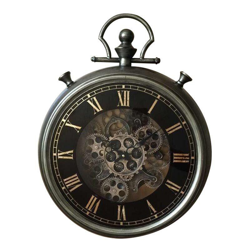 Linton Metal Round Moving Gear Wall Clock, 62cm