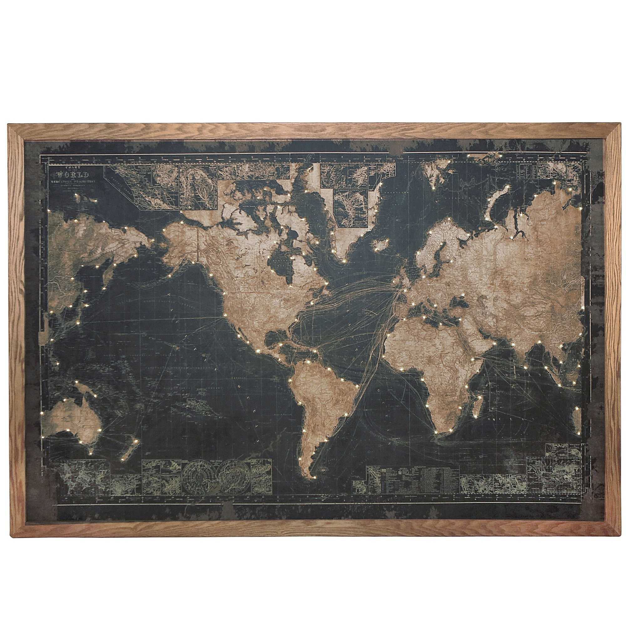 Map of The World Framed Canvas Wall Art Print with LED, 180cm, Black