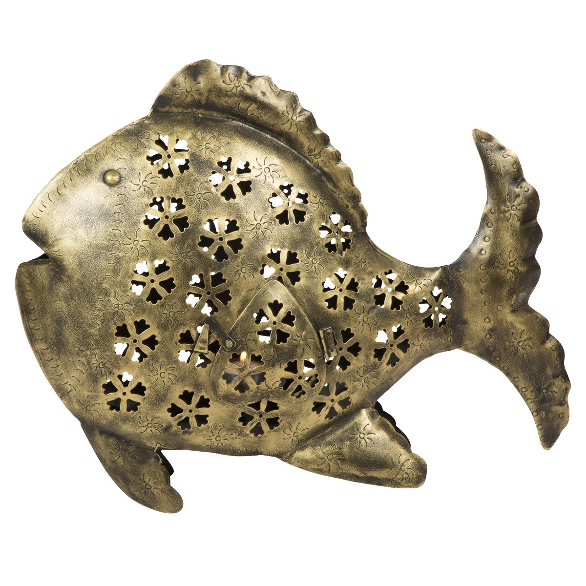 Azzedine Painted Cutout Iron Fish Tealight Holder, Antique Brass