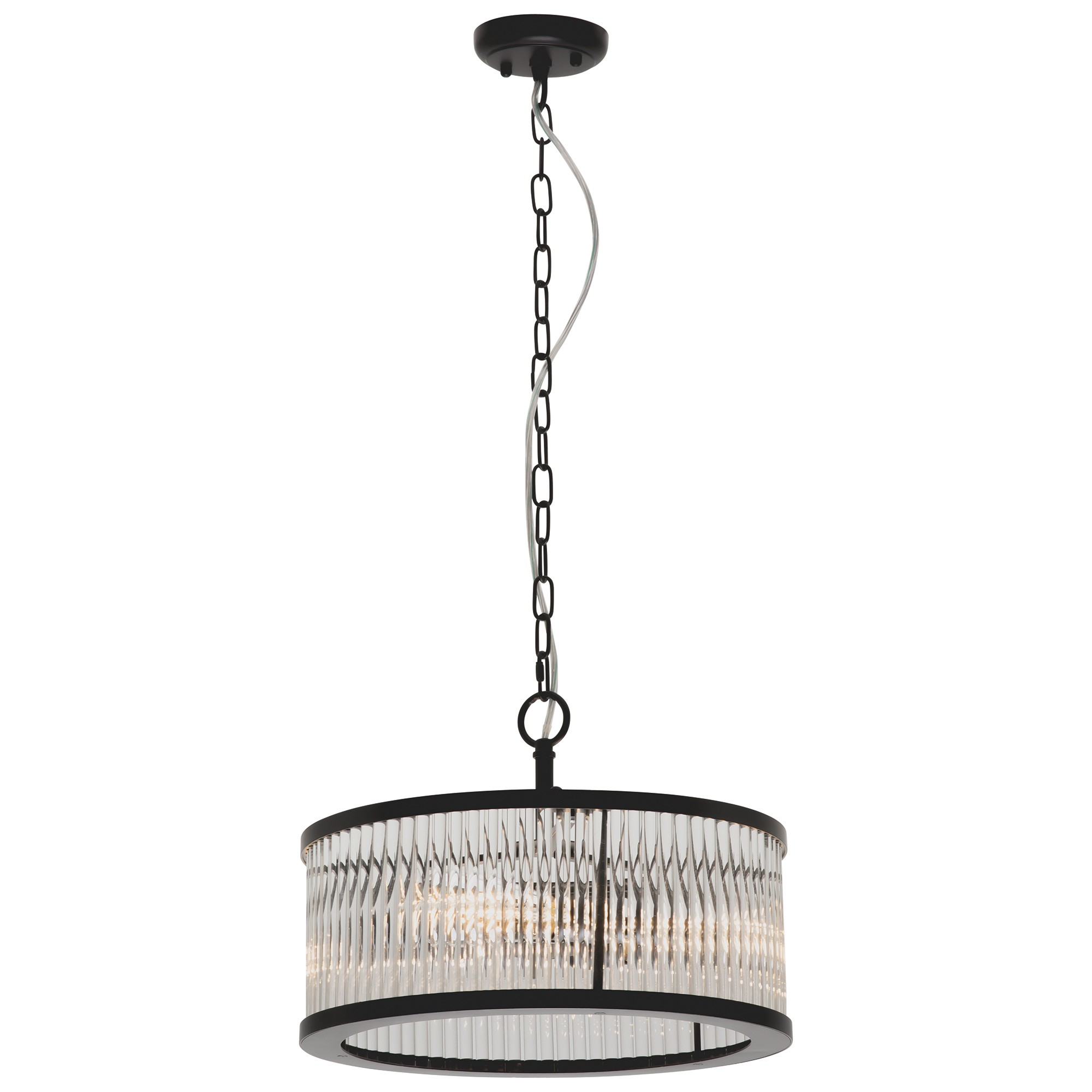 Canterbury Metal & Glass Round Pendant Light, 4 Light