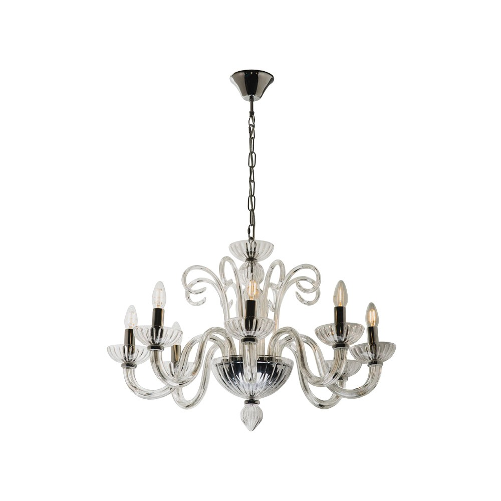 Isabella Glass Chandelier, 8 Arm