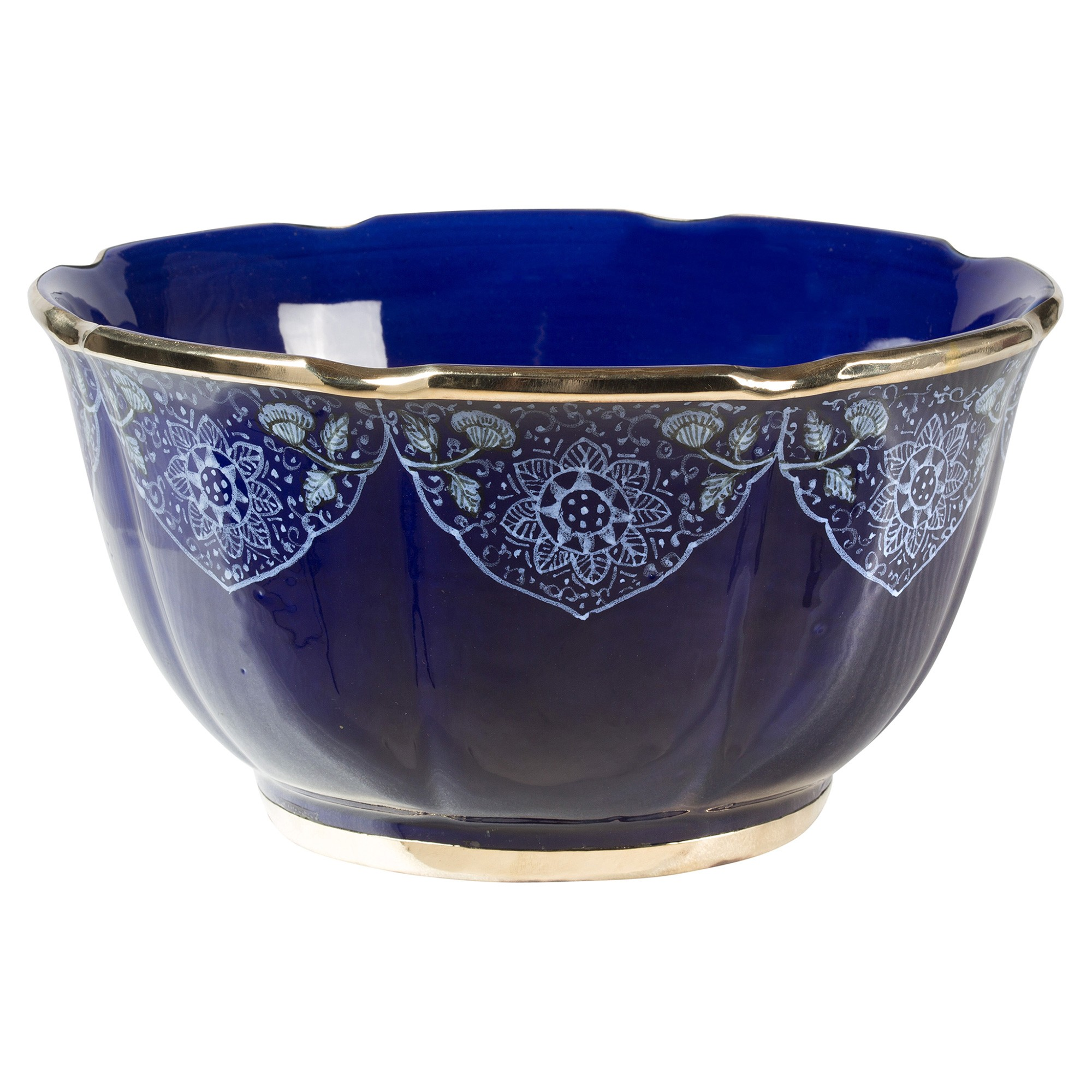 Odisha Ceramic Scalloped Bowl, Cobalt Blue