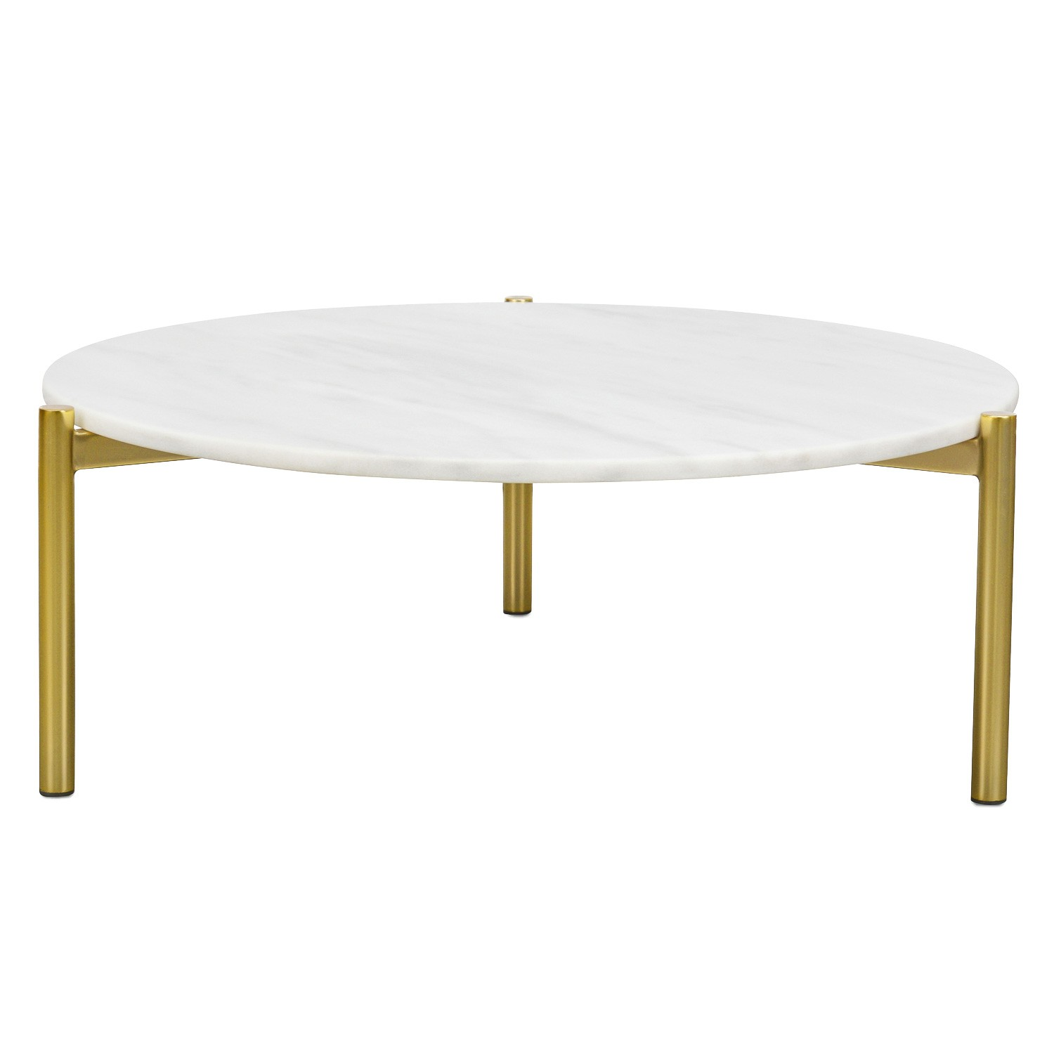 Fiesco Round Marble Top Coffee Table, 79cm, White / Gold