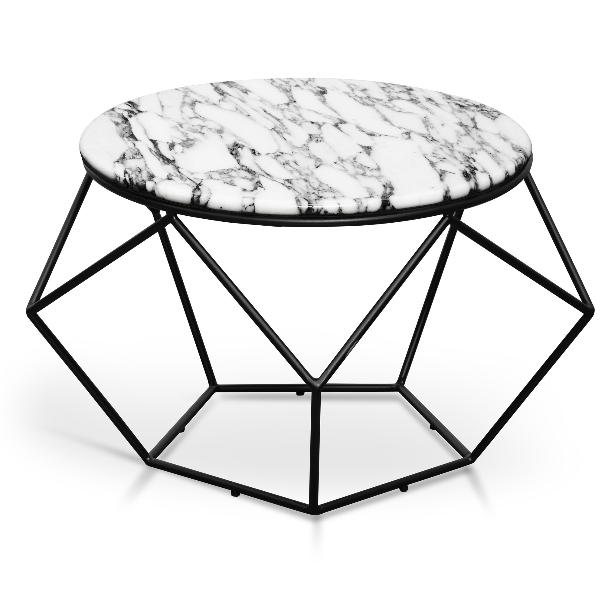 Rosa Marble & Steel Round Coffee Table, 72cm