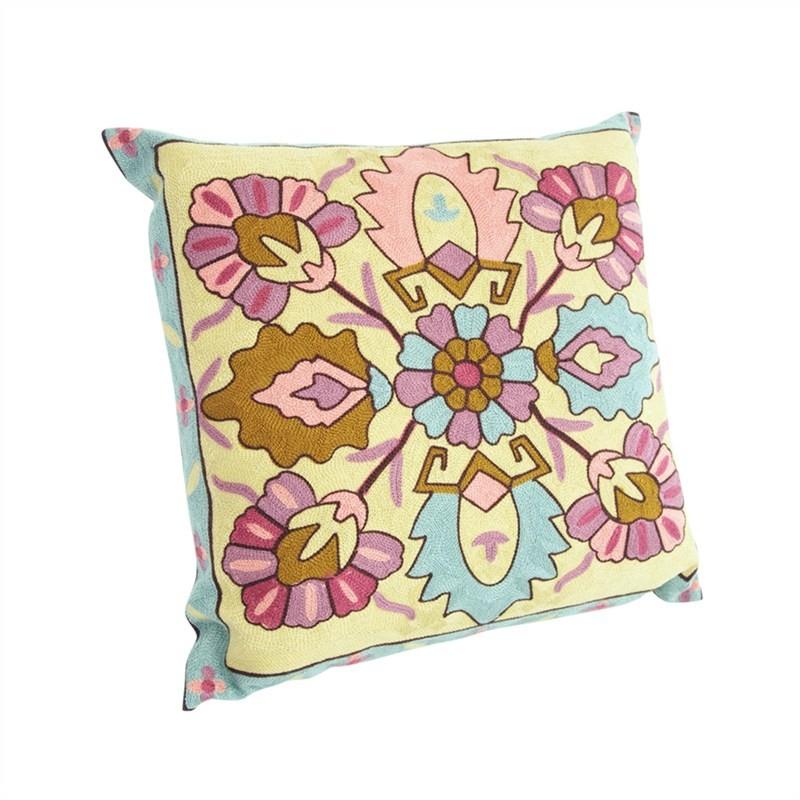 Suzani Embroidered Magneta Cotton Pillow - Style A