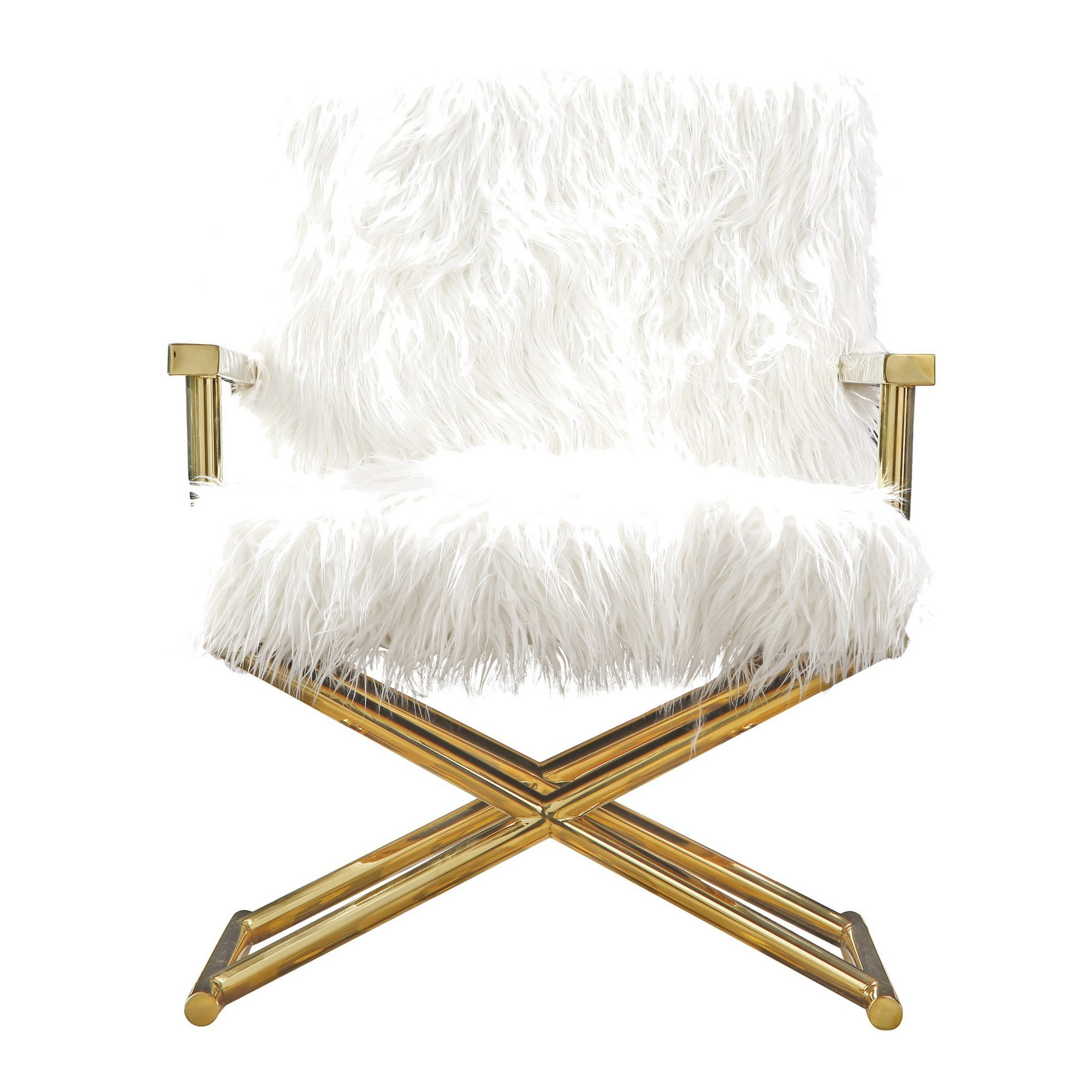 Camila Faux Fur Armchair, White / Gold