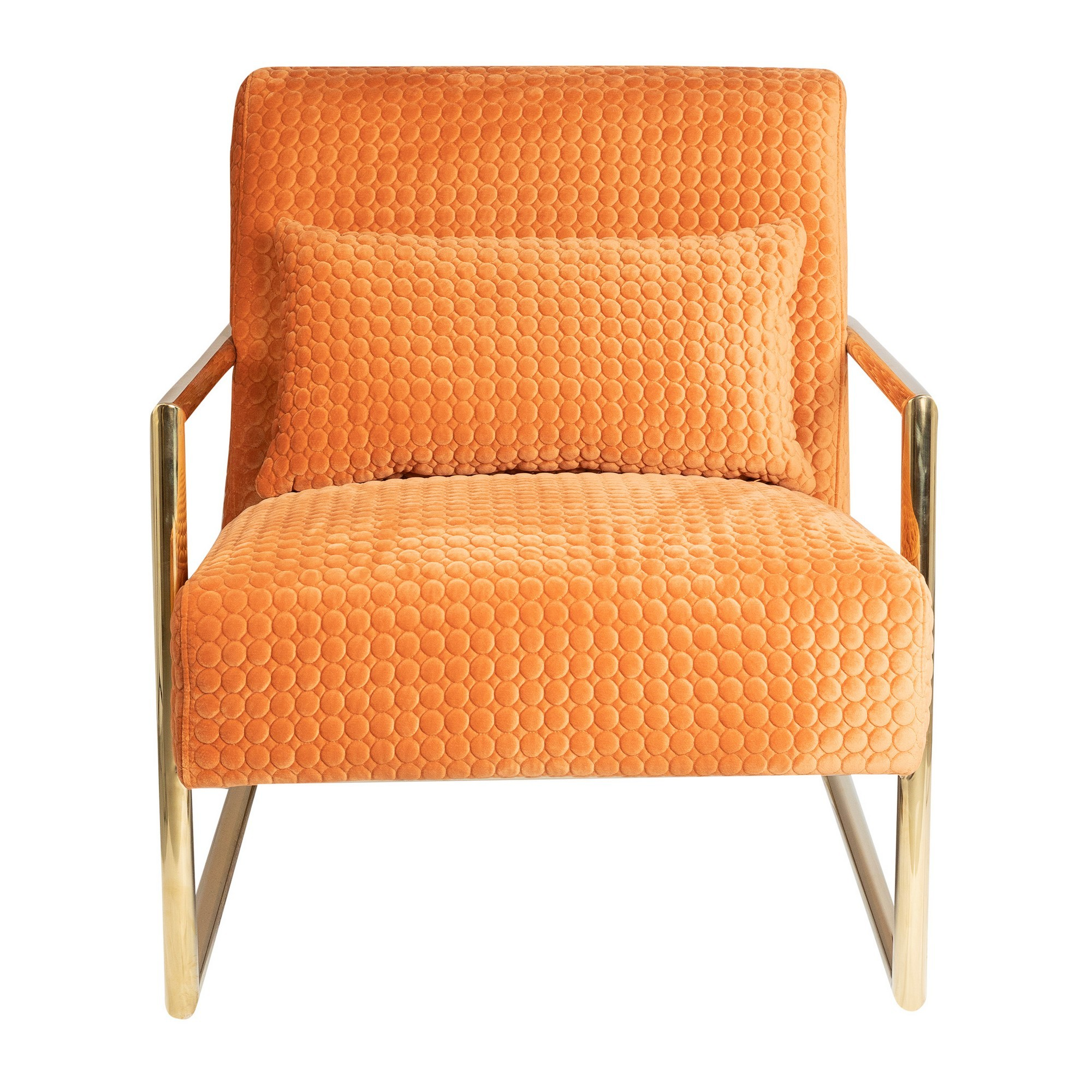Oranje Quilted Velvet Fabric Armchair, Orange
