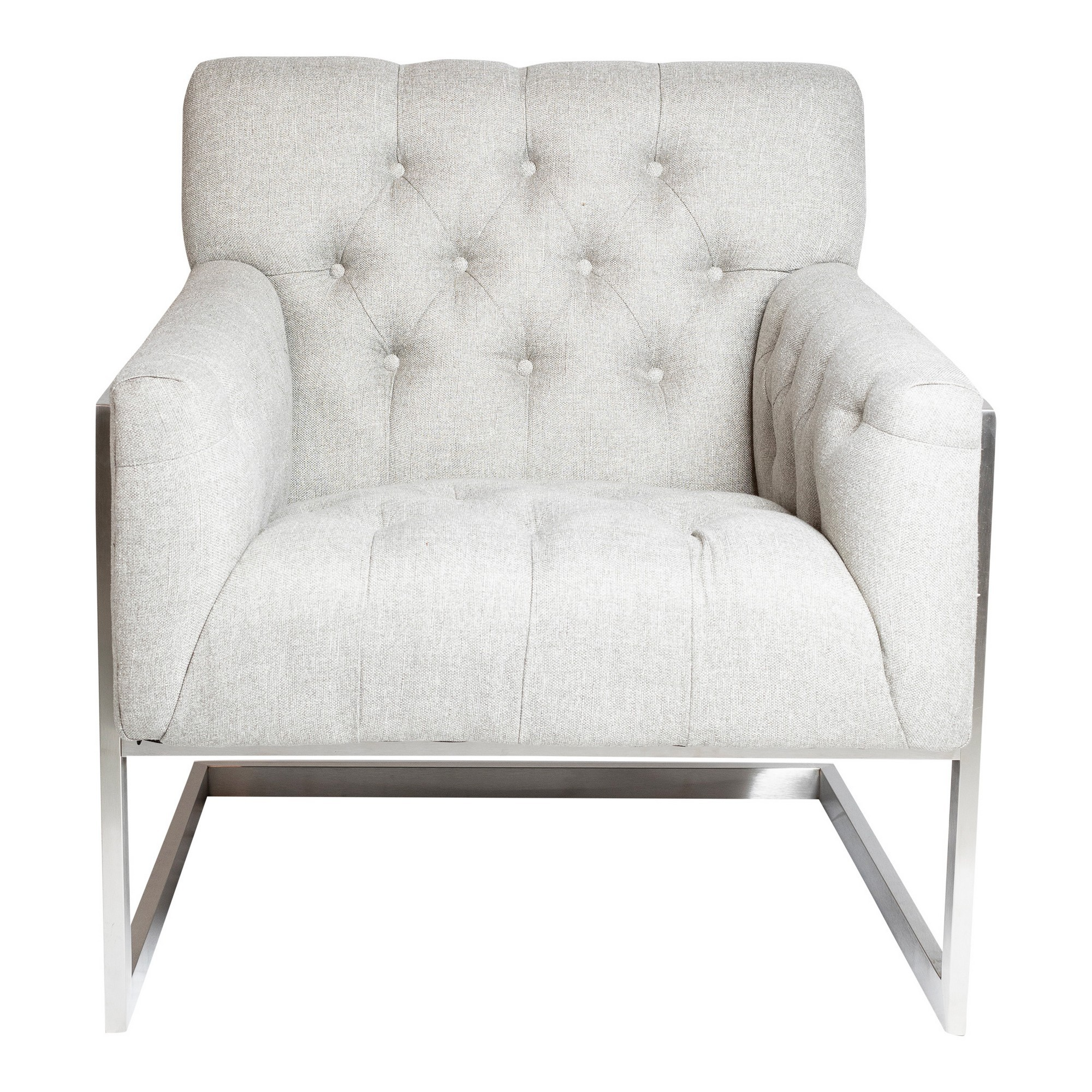 Gable Fabric Armchair, Light Grey / Silver