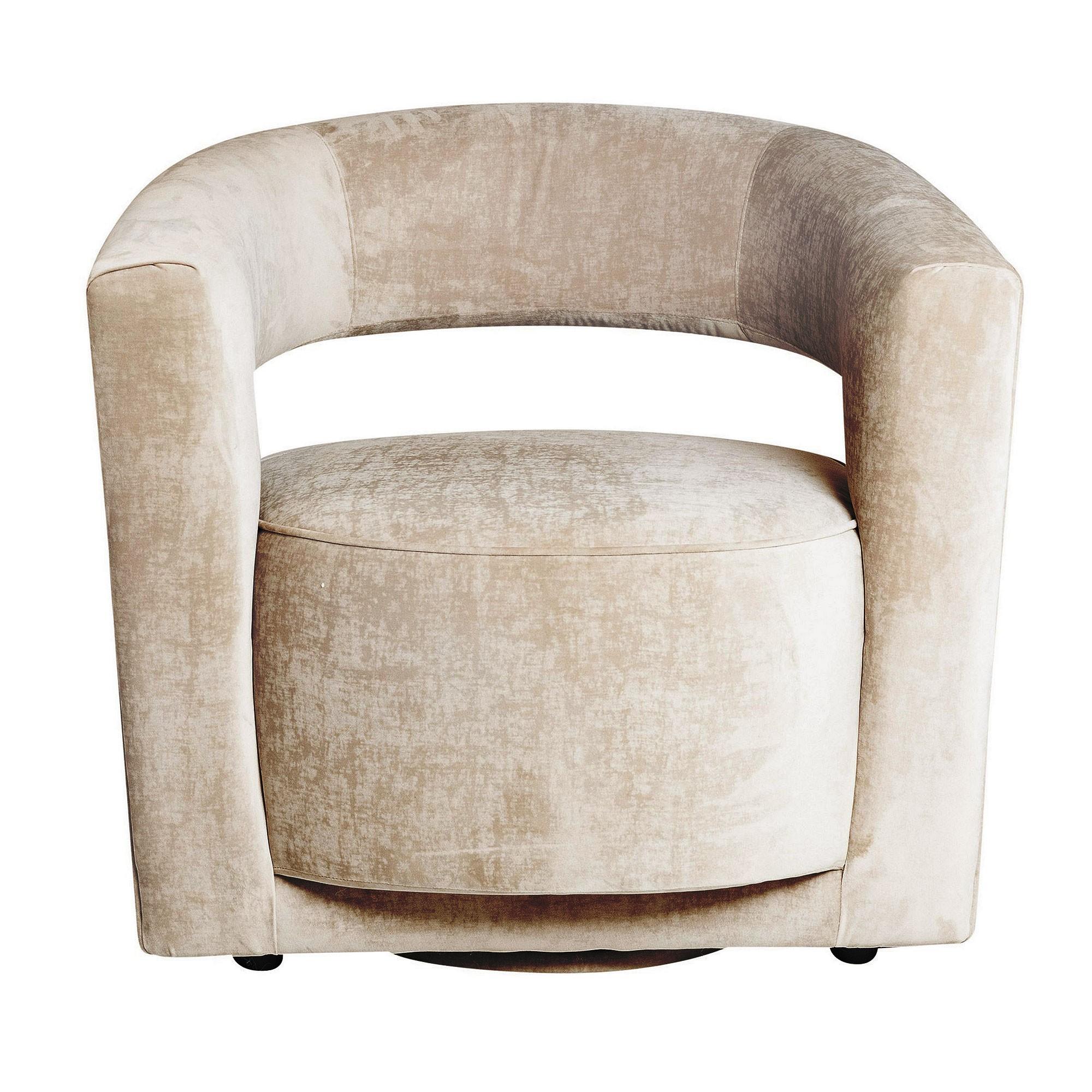 Rochester Velvet Fabric Swivel Lounge Armchair, Beige