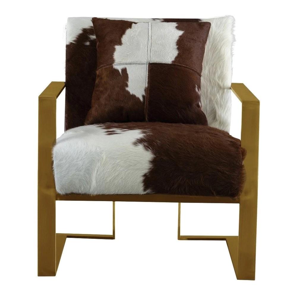Barega Cowhide & Stainless Steel Armchair