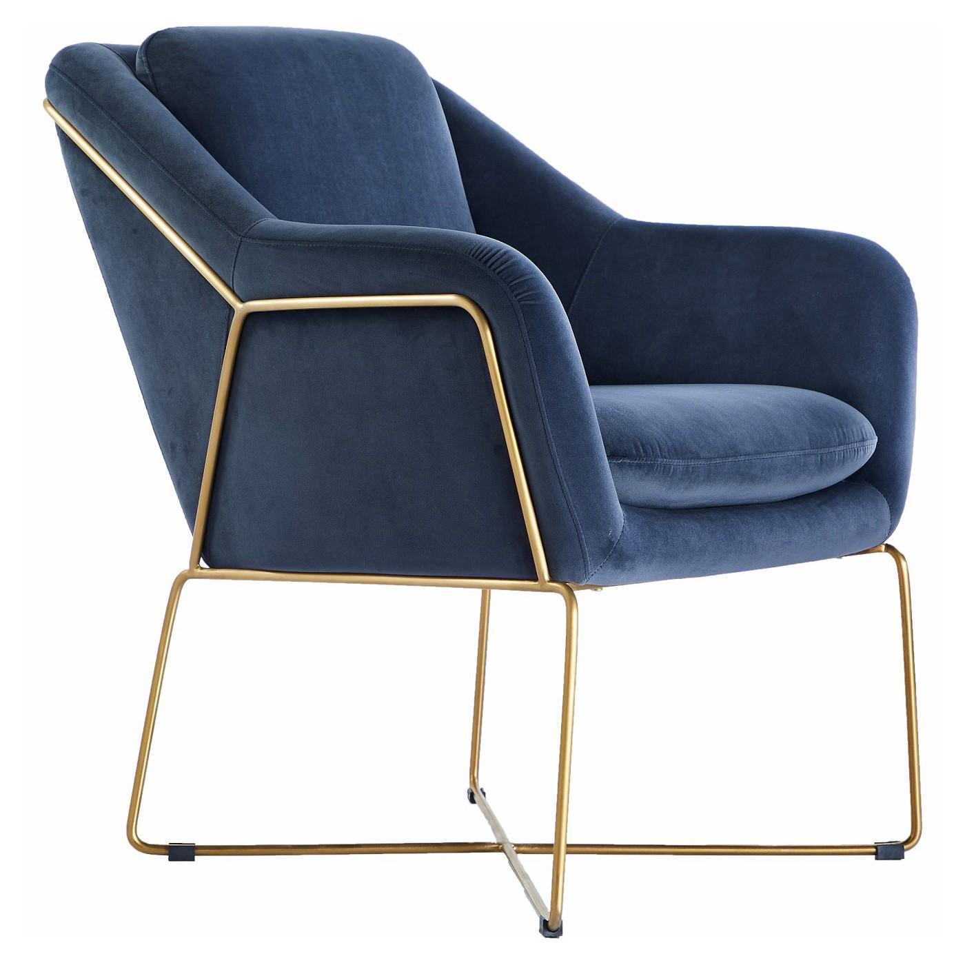 Olia Velvet Fabric Armchair, Navy / Gold