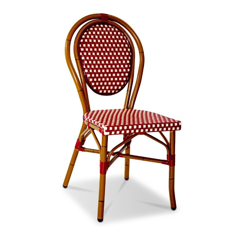 Paris Commercial Grade  Indoor/Outdoor Wicker Dining Chair, Red