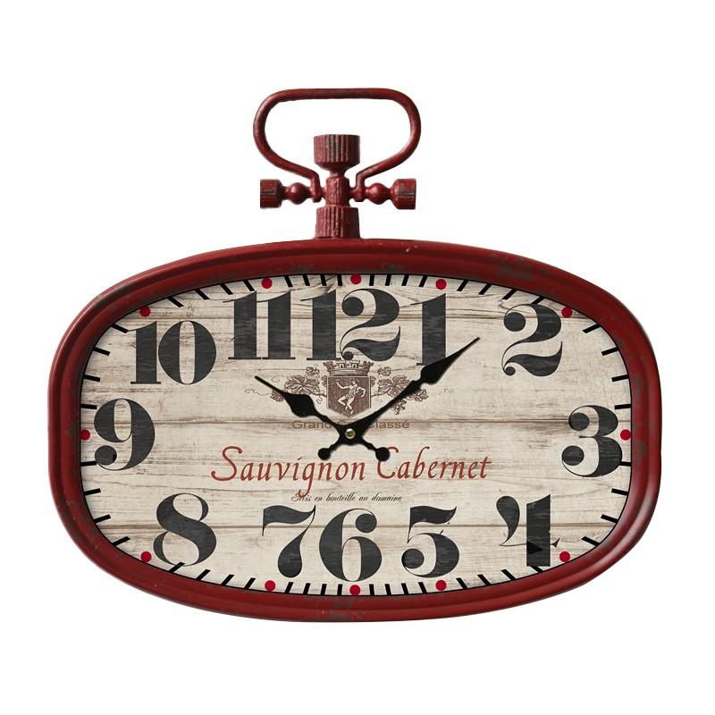 Cabernet Vintage Metal Oval Wall Clock, 46cm
