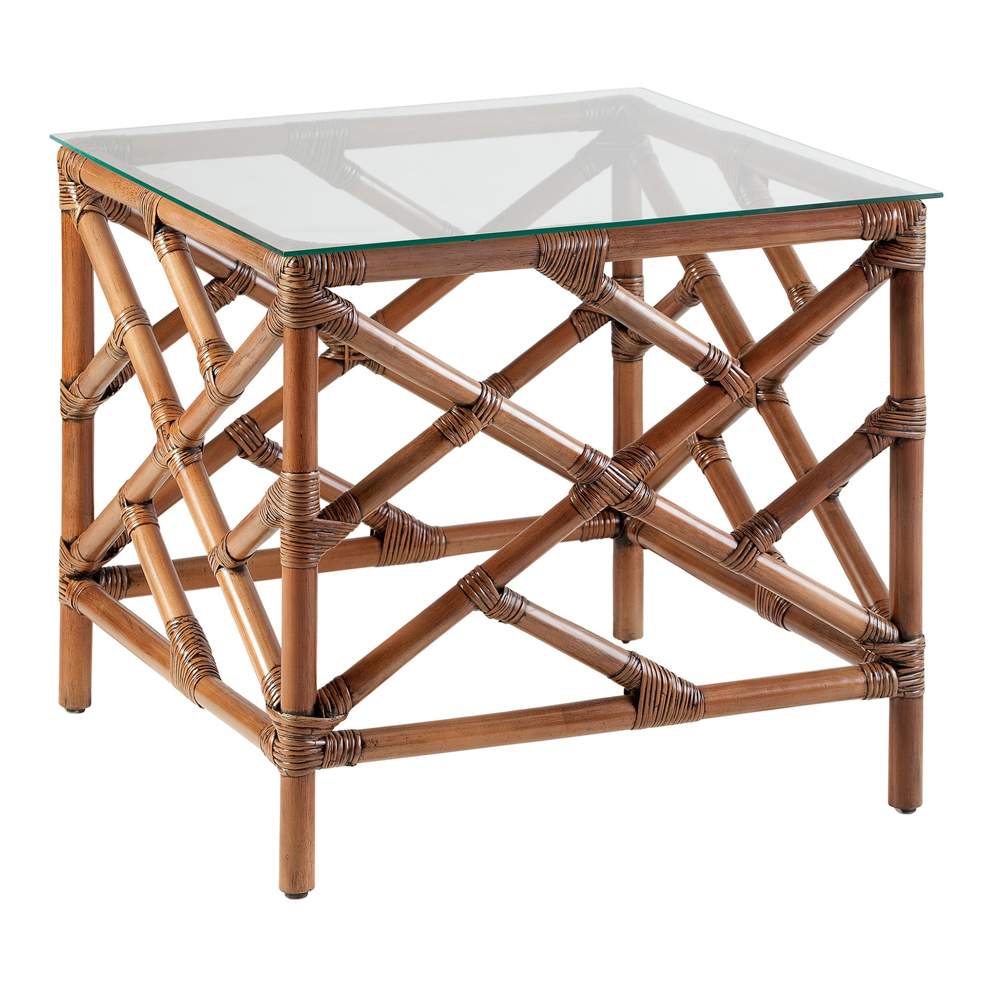 Chinoiserie Glass Topped Rattan Side Table