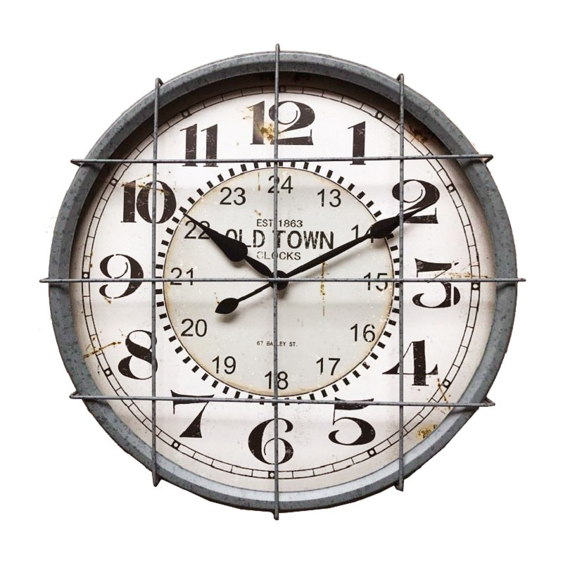 Tobin Industrial Metal Round Wall Clock, 48cm, Rustic Grey