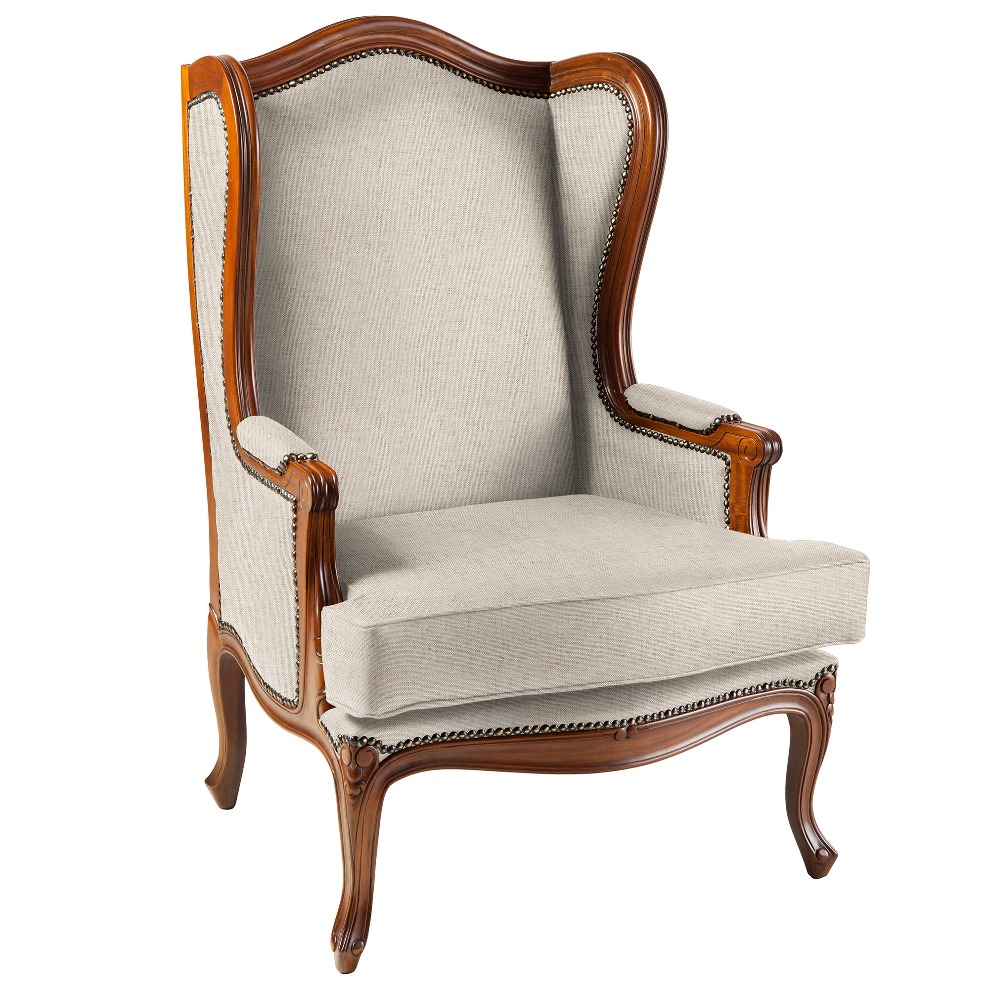 Sandringham Mahogany Timber & Fabric Wing Back Armchair