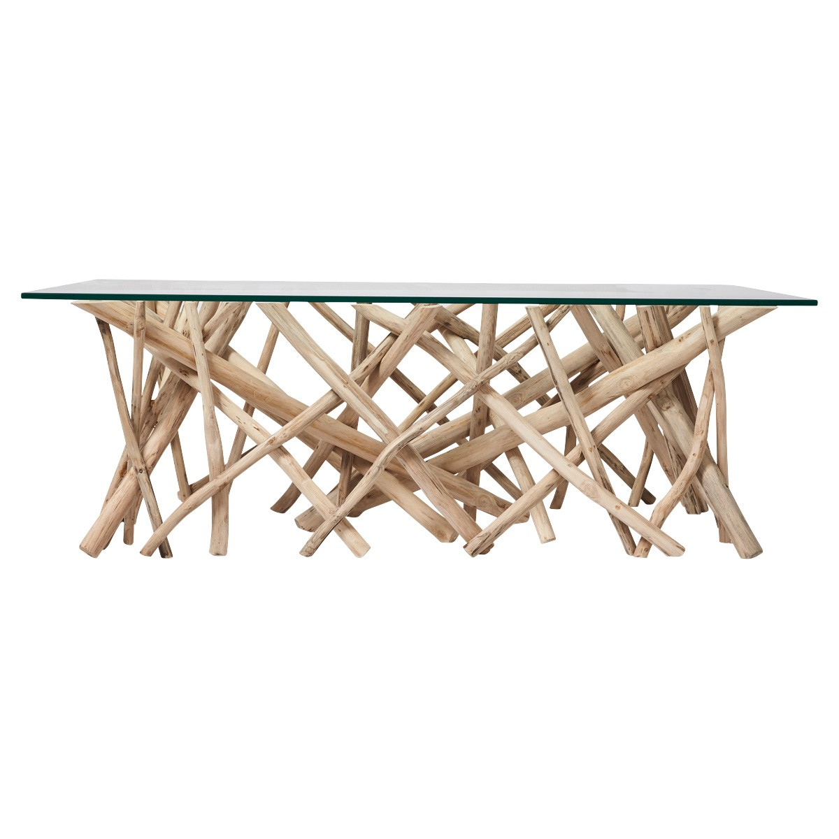 Semarang Glass & Teak Branch Coffee Table, 120cm
