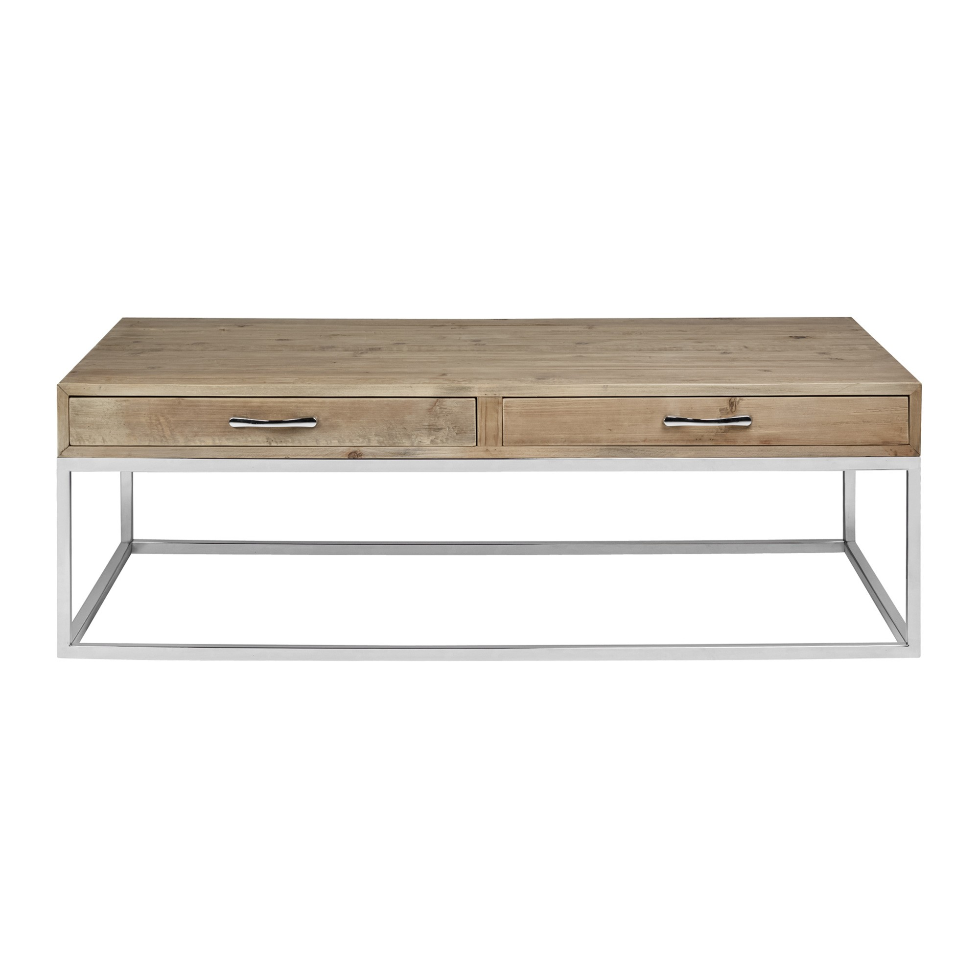 Laurence Recycled Pine Timber & Stainless Steel Coffee Table, 140cm