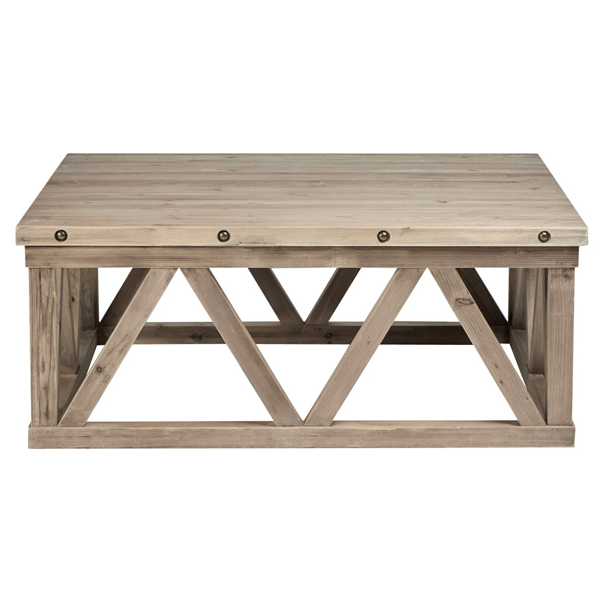 East Hamptons Recycled Pine Timber Square Coffee Table, 100cm