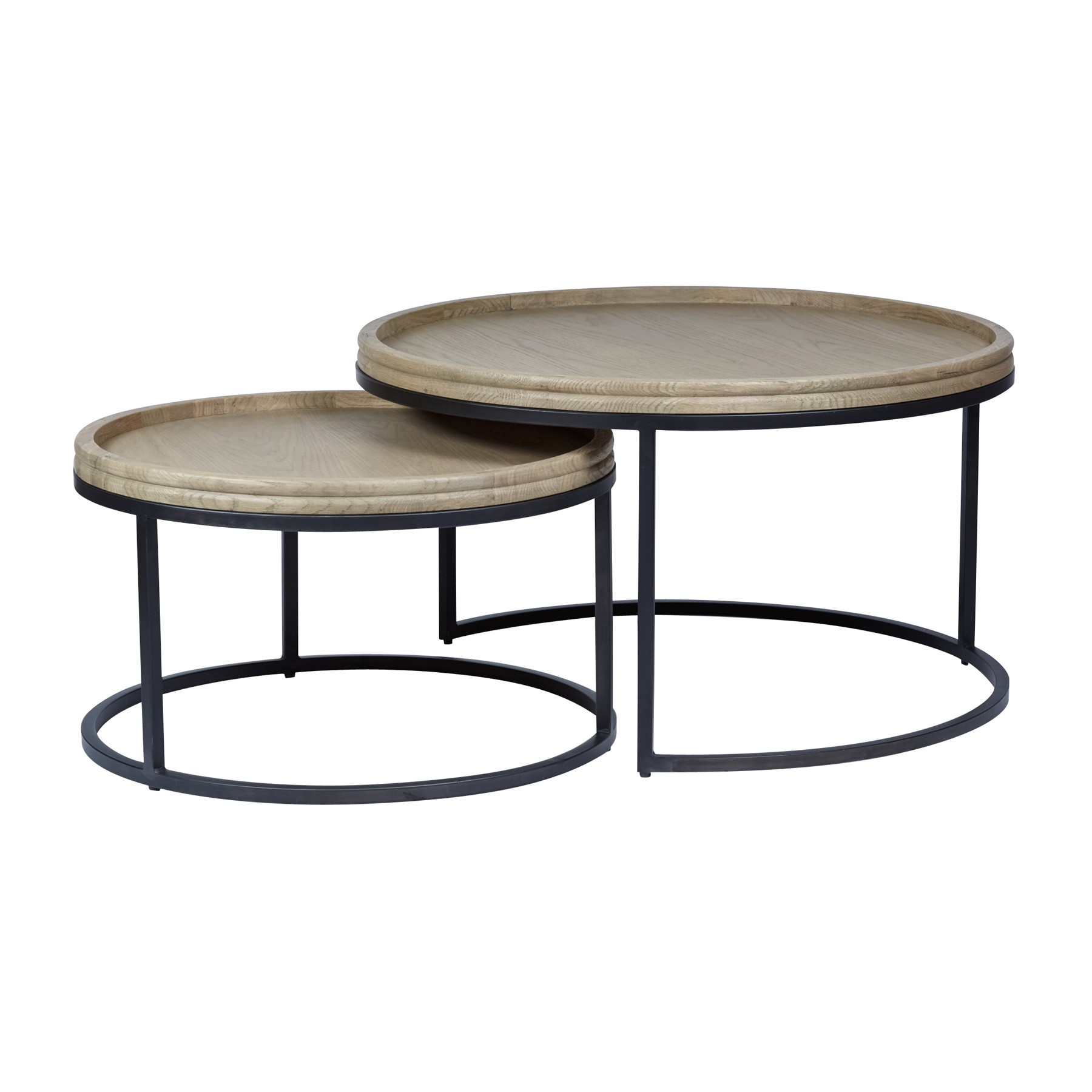 Alessandro 2 Piece Oak Topped Metal Round Nesting Coffee Table Set, 90cm