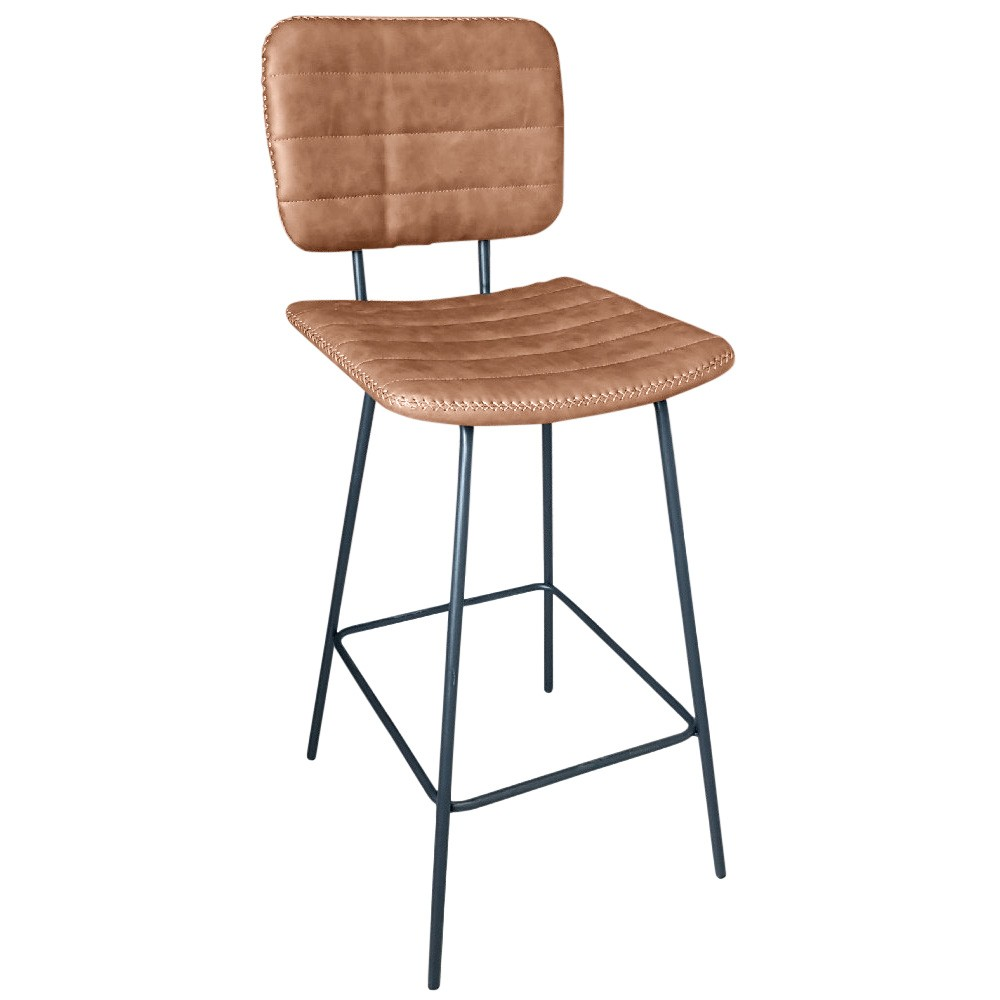 Bowie PU Leather Bar Chair, Tan