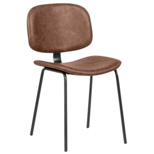 Birmington PU Leather & Steel Dining Chair, Toffee