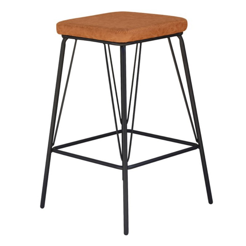 Bono PU Leather & Steel Counter Stool, Toffee