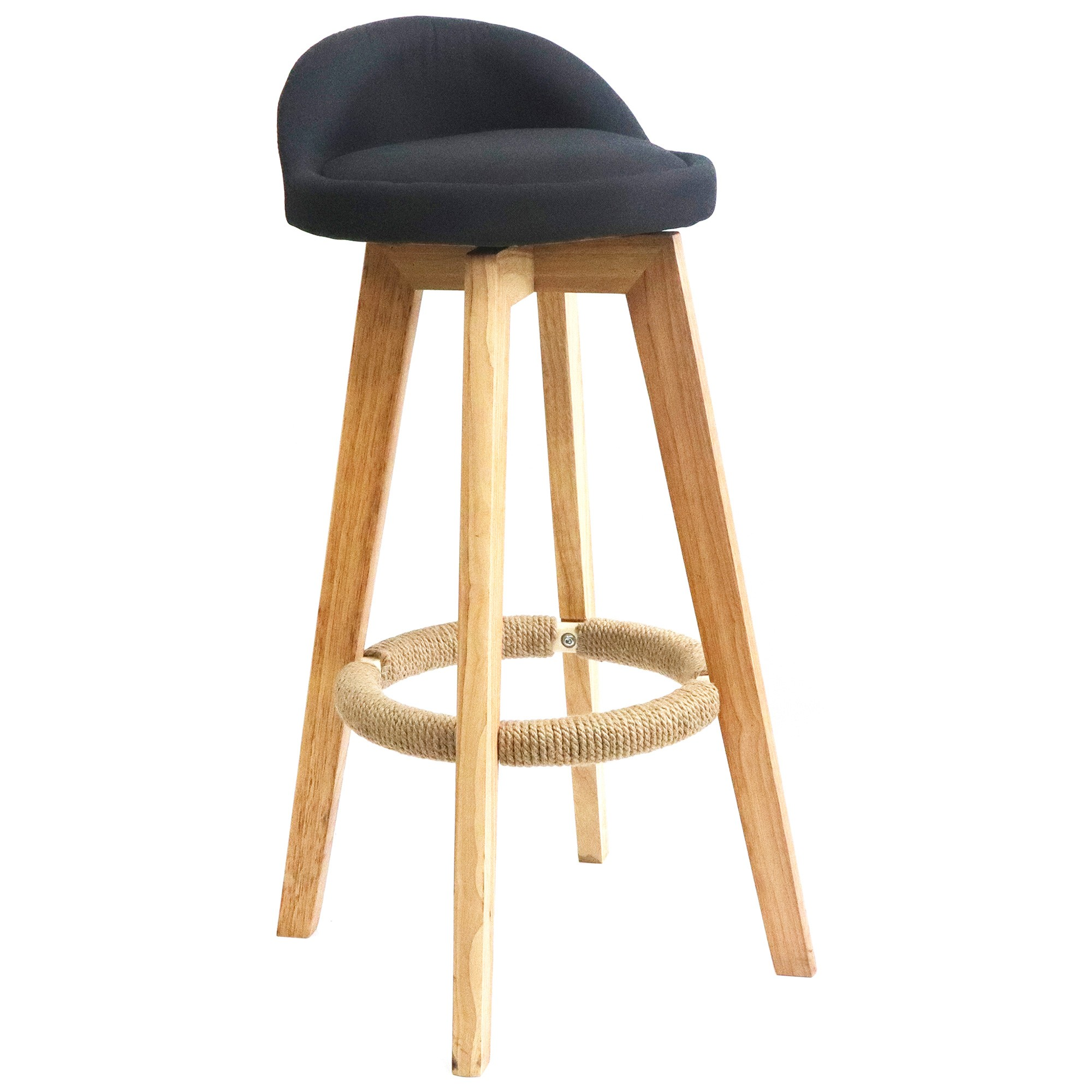 Nest Fabric & Rubber Wood Bar Stool, Black / Natural
