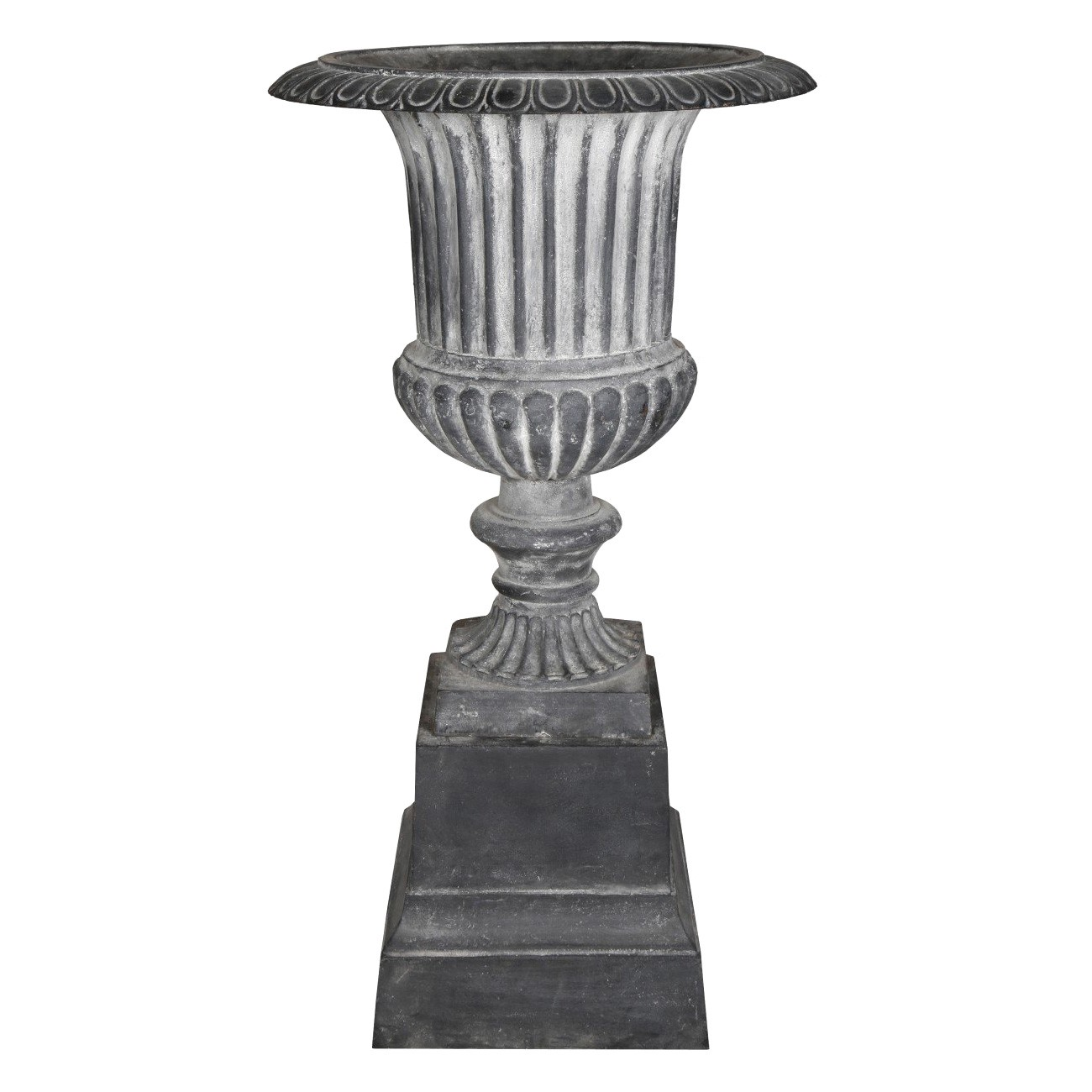 Venetian Cast Iron Fluted Garden Urn & Pedestal Set, Lead