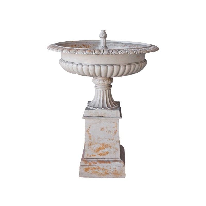 Toulouse Self Contained Cast Iron Garden Fountain, Antique White
